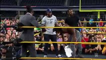 Booker T battles Brandon Carr in Spinaroonie-off  WrestleMania On-Sale Party, November 5, 2015