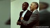Obama mimics Lightning Pose of Usain Bolt