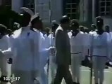 This video dates backs to 1987 when Indian Prime Minister Rajiv Ghandi visited Sri lanka and was hit by a Sri Lankan sol