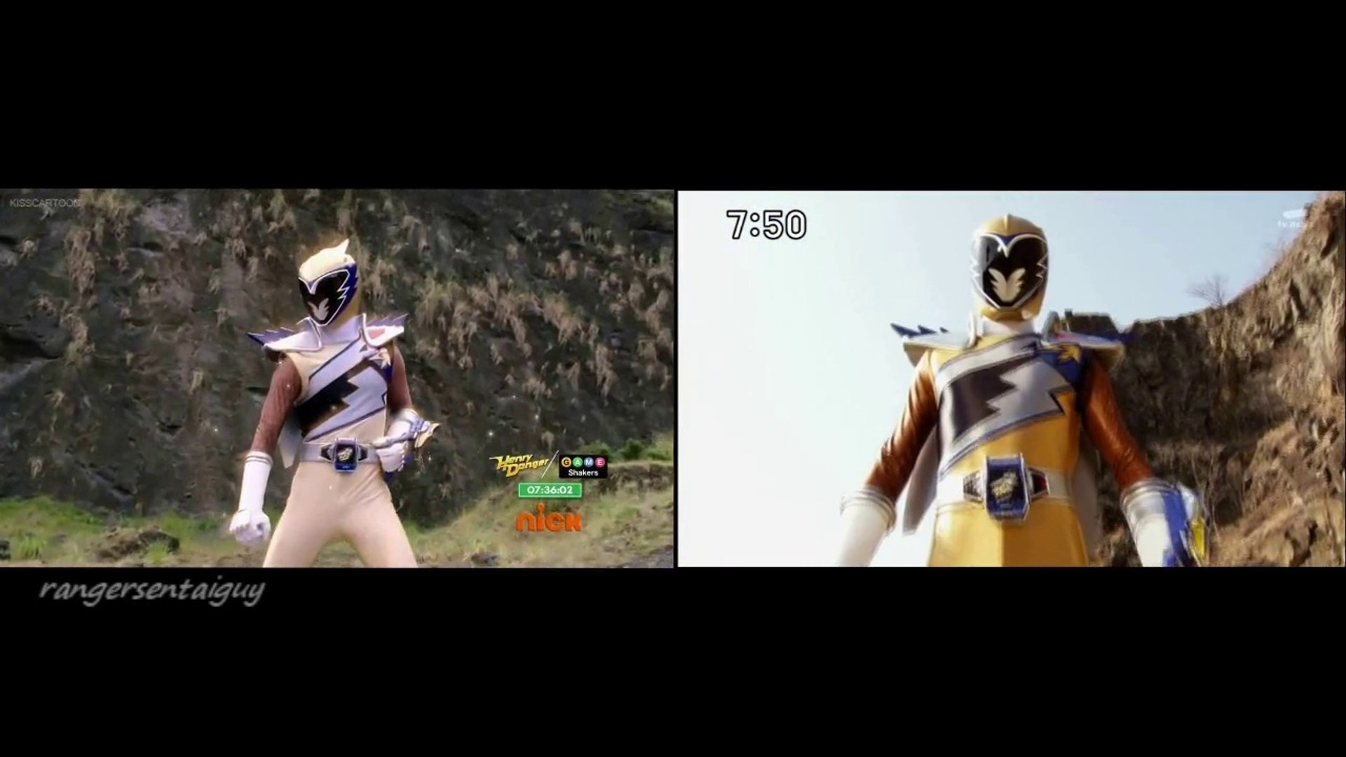Power Rangers Dino Charge Gold Ranger First Appearance Split Screen (PR and  Sentai Version)