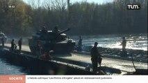 Des chars Leclerc traversent le Rhône