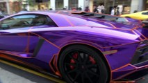 TRON Lamborghini Aventador Decatted Crusing in London and loud Sounds!