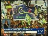 Marcha de la oposición se desarrolló en medio de enfrentamientos