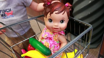 Baby Alive Doll Goes Shopping Wild Baby Boy Buys Baby Alive Food Ice Cream Cookies Veggies