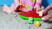 Baby Alive Doll EATING Sand Beach - Snackin Sara Plays with Shopkins Surprises by Eating & Poo Sand
