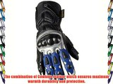Juicy Trendz Men's Cowhide Leather Motorbike Motorcycle Biker Winter Blue Gloves