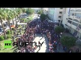 Pro-Russian supporters rally in Syrian port city of Tartus (drone footage)