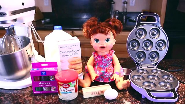Baby Alive Doll Bakes Donuts ❤ Cooking With Baby Alive Episode 1 Sprinkles & Sugar Doughnu