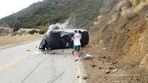 Une BMW se crashe à la sortie d'un virage