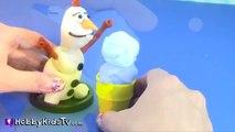 Disney Movie Frozen PLAY-DOH Snow Ball Fight Snow Cones Turn Olaf into GIANT! By HobbyKidsTV