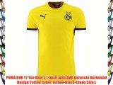 PUMA BVB T7 Tee Men's T-Shirt with BVB Borussia Dortmund Design Yellow Cyber Yellow-Black-Ebony