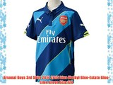 Arsenal Boys 3rd Shirt 2014 2015 blue Methyl Blue-Estate Blue-Lime Green Size:128