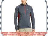 Berghaus Men's Tech Long Sleeve Zip Neck Base Layer - Carbon/Extreme Red X-Large