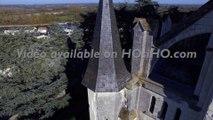 Eglise Saint Symphorien de Montjean sur Loire, vue par drone en automne, Pays de La Loire, France (14)