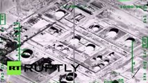 Combat Cam_ Russian jets destroy ISIS oil refinery & tanker trucks in Syria