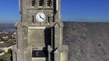 Eglise Saint Symphorien de Montjean sur Loire, vue par drone en automne, Pays de La Loire, France (5)