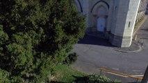 Eglise Saint Symphorien de Montjean sur Loire, vue par drone en automne, Pays de La Loire, France (9)