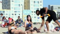 Squirting Hot Girls on the Beach Prank 2015