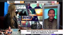ESPN First Take - Holly Holm on Ronda Rousey Backlash & A Rematch!