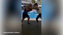 Heather Maltman complains through her kick boxing training