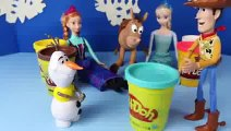 Play Doh Cowboy Frozen Barbie Doll Parody with Snowman Olaf Barbie Anna and Toy Story Sher