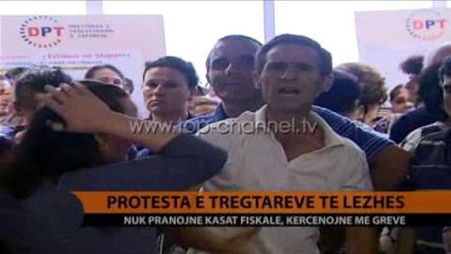 Protesta e tregtarëve të Lezhës - Top Channel Albania - News - Lajme