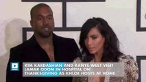 Kim Kardashian and Kanye West visit Lamar Odom in hospital on Thanksgiving as Khloe hosts at home