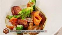 Le plat libre de Michaël : pigeonneau des Flandres, asperges d'Argenteuil, petits pois, carottes et radis