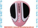 MAXSTRENGTH ? Pink Focus Pads Hook and Jabs Mitts Punch Bag Gloves Set Boxing MMA Gym Training