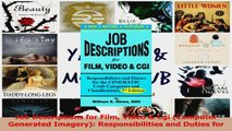 PDF Download  Job Descriptions for Film Video  Cgi Computer Generated Imagery Responsibilities and Read Online