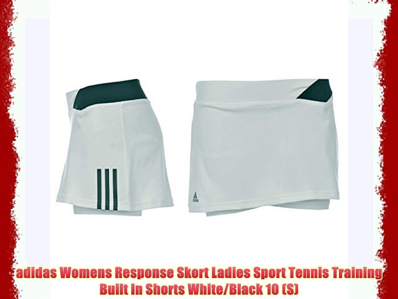 adidas Womens Response Skort Ladies Sport Tennis Training Built In Shorts WhiteBlack 10 (S)