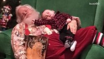 Santa takes a nap with a sleeping baby and the picture goes viral