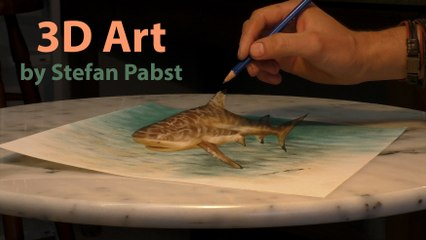 3D Drawing Shark/ Speed Painting an optical Illusion by Stefan Pabst