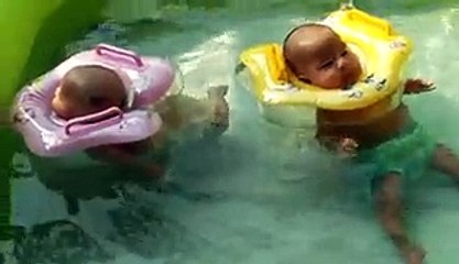 2-month-old twin babies enjoy pool time_2