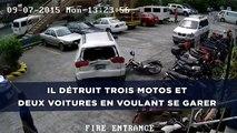Il détruit trois motos et deux voitures en voulant garer son 4X4