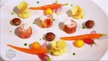 Le plat de Marie-Noëlle: lapereau farci au fromage Mont des Cats, carottes glacées et radis blanchis