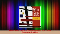 Well Said Intro Pronunciation for Clear Communication Read Online