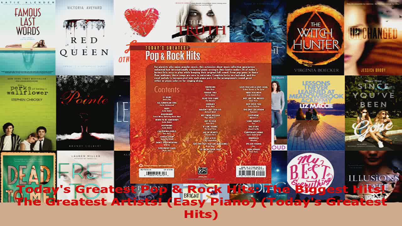 Read  Todays Greatest Pop  Rock Hits The Biggest Hits The Greatest Artists Easy Piano EBooks Online