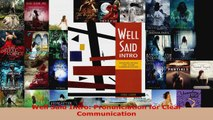 Read  Well Said Intro Pronunciation for Clear Communication EBooks Online
