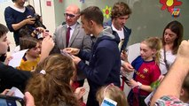 FC Barcelona players put smiles on faces in local hospitals