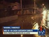 Más de cien casas quedaron sumidas en fango por la fuerte lluvia en Riobamba