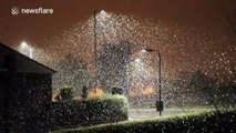 Heavy snow with unusually large snowflakes in Northern Ireland