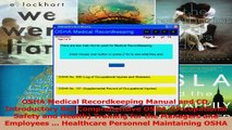 Read  OSHA Medical Recordkeeping Manual and CD Introductory But Comprehensive OSHA Occupational Ebook Free