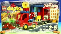 Lego Duplo Spider-Man truck And Spiderman Tangle Green Goblin In Massive Silly String Spid