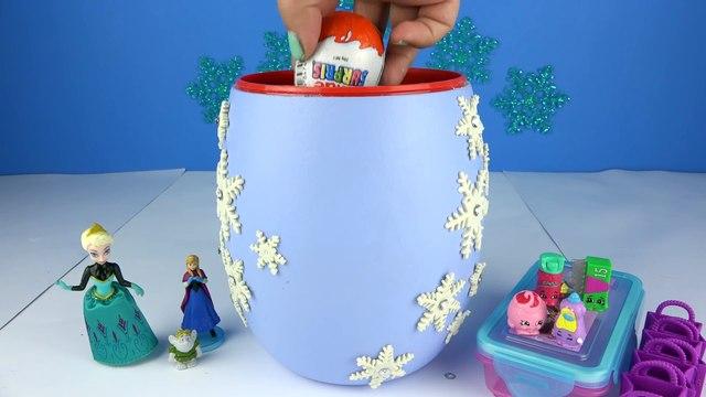 BIG FROZEN BRAIDS ELSA Surprises Toys PlayDoh Kinder Eggs Barbie Chelsea Anna Shopkins Friendz