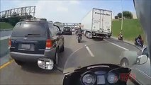AMAZING Motorcycle ACCIDENT Bike VS Truck Biker Hits Semi 18 Wheeler Motor CRASH