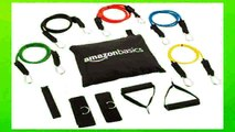Best buy Fitness Band  AmazonBasics Resistance Band Set with 5 Bands Foam Handles Door Anchor Ankle Straps and