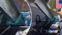 California driver escapes near death after metal beam beams his beemer