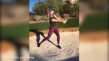 Paige Spiranac readies her swing for the Dubai Ladies Masters