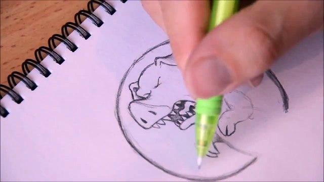 Beanie Draws Jurassic Pork Time lapse video